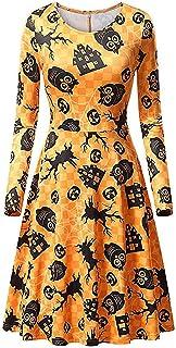 ReooLy Women Halloween Maxi Long Sleeve Dress Casual Fashion Pumpkin Black Cat Ghost O-neck Printed Halloween Dress Evenin...