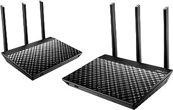 ASUS RT-AC67U - Kit de Dos en Red Mesh AC1900 Dual-Band (AiProtection Pro, QoS Adaptativo, Mesh Roaming, Triple VLAN y Compatible con Ai Mesh WiFi)