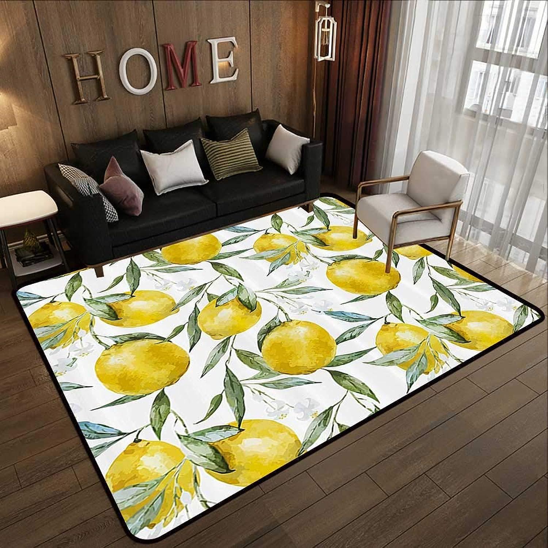 Kitchen Floor mats,Nature,Vibrant Citrus Branch with Blooms Delicious Plant Garden Elegance Watercolor,Olive Green Yellow 47 x 59  Door Mat Living Room Non-Slip