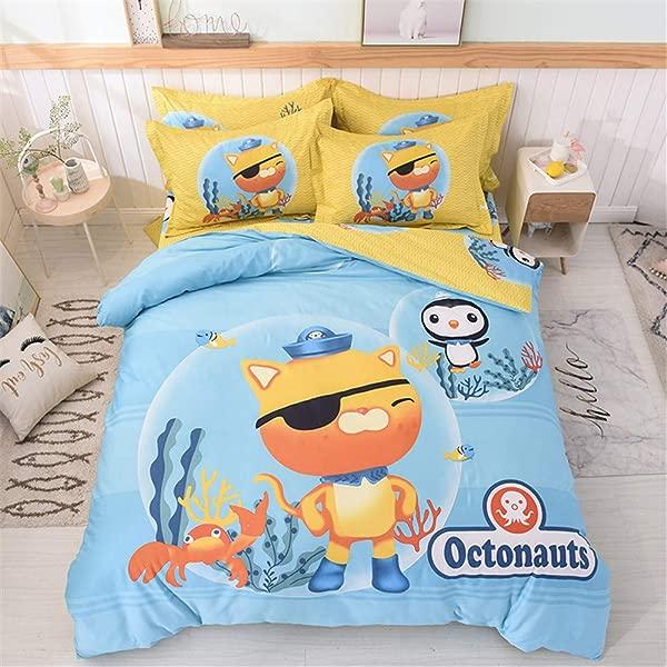 Cenarious Duvet Cover Set No Comforter 1 Duvet Cover 1 Flat Sheet 1 Pillowcase Hypoallergenic Breathable 100 Cotton 3 Piece Twin 61 X80 Cartoon Octonauts Blue Yellow