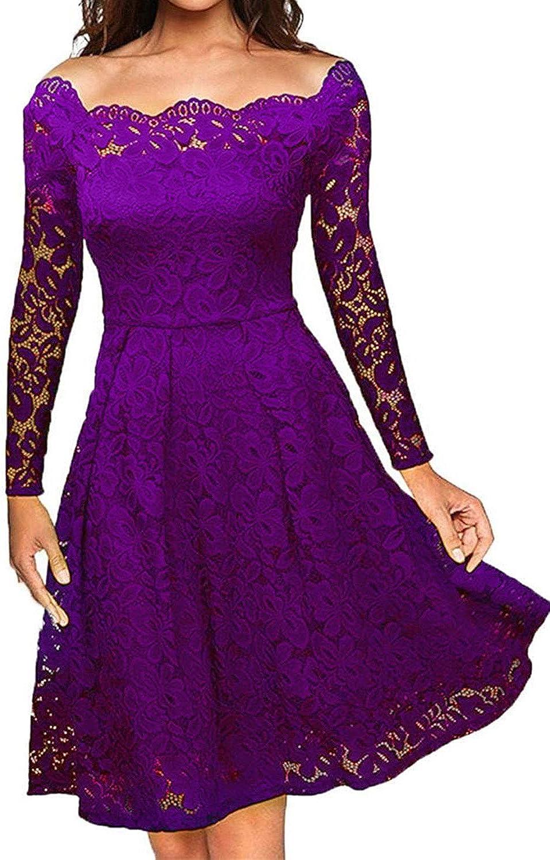 LITTLEPIG Women's Vintage Floral Lace Long Sleeve Boat Neck Plus Size Dresses Cocktail Formal Swing Dress (XXL, Purple)