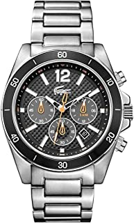 Lacoste 2010834 Stainless Steel Contrast Bezel Round Analog Watch for Men - Silver