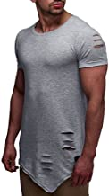Colmkley Men's Fashion Ripped Solid Color Crew Neck T Shirts Casual Short Sleeve