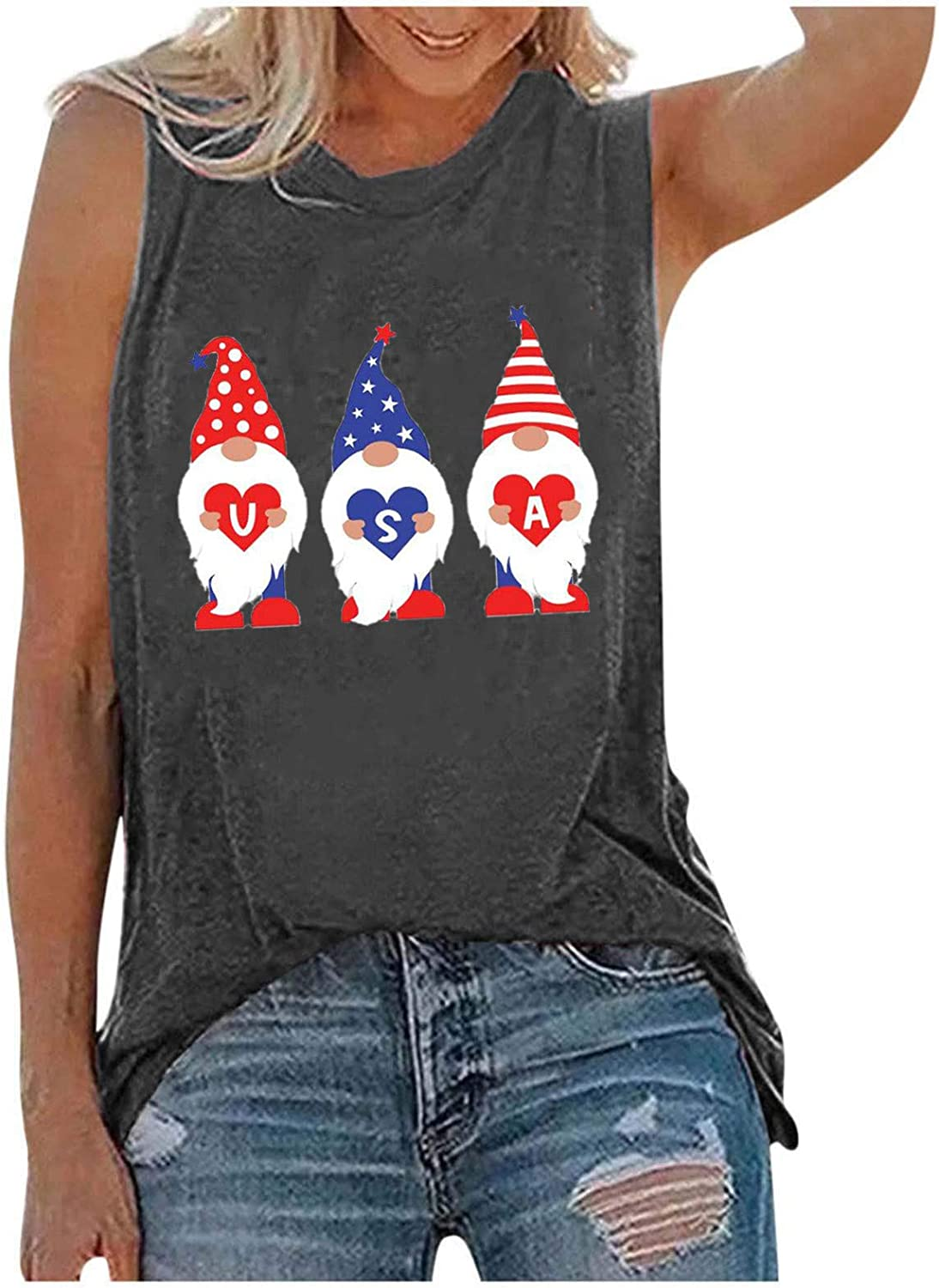 Cbcbtwo Women Independence Day Vest Sleeveless Tank Tops O-Neck Printing Sleeveless Casual Loose Vest Tops