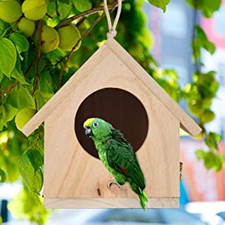 m·kvfa Premium Quality Wooden Bird House Resting Place for Birds Provides Shelter from Cold Weather DIY Nest DOX Bird Box Ideal for Finch & Canary (C)
