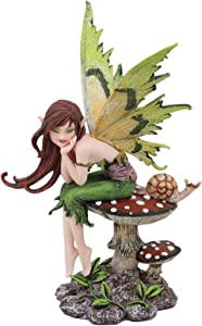 "Ebros Amy Brown Forest Willow Thinking of You Fairy Sitting On Wild Giant Toadstool Mushroom with Snail Statue 6.5"" Tall Fantasy Mythical Faery Garden Magic Collectible Figurine Fairies Pixies Nymphs"