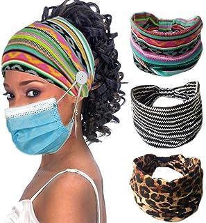3 Pack Women's Button Boho Headbands-Ear Saver Sports Yoga Headwraps Headwear Hair Bands Hair Accessories (C)