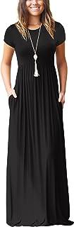 ZIOOER Women Short Sleeve Loose Plain Maxi Dresses Casual Long Pockets Dresses