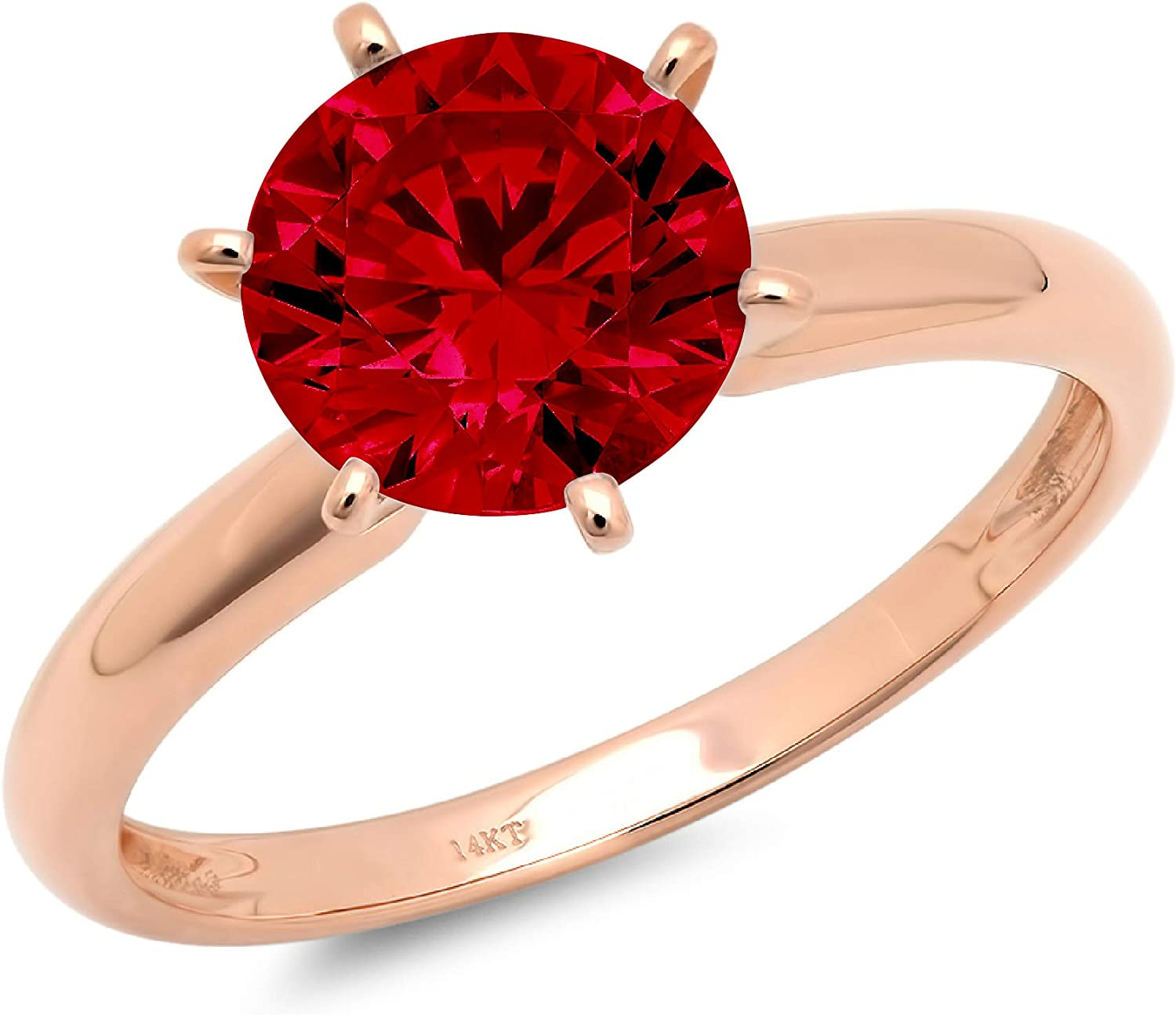 1.9ct Brilliant Round Cut Solitaire Natural Crimson Deep Red Garnet Ideal VVS1 6-Prong Engagement Wedding Bridal Promise Anniversary Ring in Solid 14k rose Gold for Women