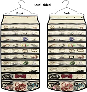 JSXD Hanging Jewelry Organizer,Double Sided 74 Pockets Organizer Holder with Hanger(Beige)