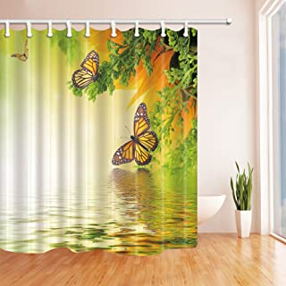 Moneyhouse Butterfly Printed Bathroom Shower Curtain,69 X 69 Inches Polyester Fabric Machine Washing, Interior Decorations Free Hook