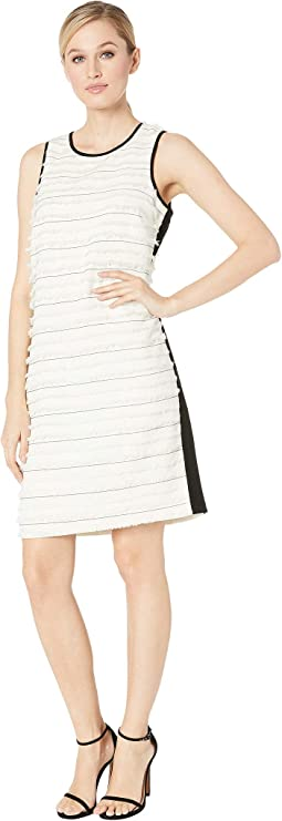 Sleeveless Clipped Stripe Mix Media Dress