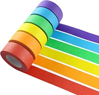 Colored Masking Tape, 6 Pieces 1 Inch x 22 Yard Rainbow Masking Tape Labelling Tape, Assorted Color Coded & Kids DIY Art Supplies, Home Decoration, Office Supplies