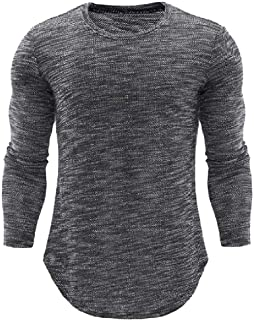 AngelSpace Men Long Sleeve Pure Color Pullover Tops Comfort Soft Tunic Shirt