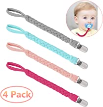 Pacifier Clips,Benewell Teething Ring Holders for Boys and Girls, Universal Flexible Holder Leash for Pacifiers, Baby Teething Toy, Soothie By Hand-Made Braided(4-Pack)