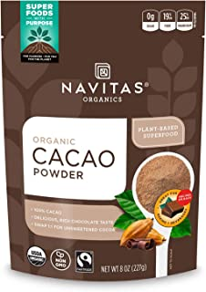 Navitas Organics Cacao Powder, 8oz. Bag, 15 Servings — Organic, Non-GMO, Fair Trade, Gluten-Free