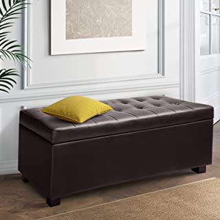 Artiss Leather Storage Ottoman Bench Rectangle Footstool Coffee Table, Brown