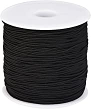 Outus 1 mm Elastic Cord Beading Threads Stretch String Fabric Crafting Cords for Jewelry Making (Black, 100 m)