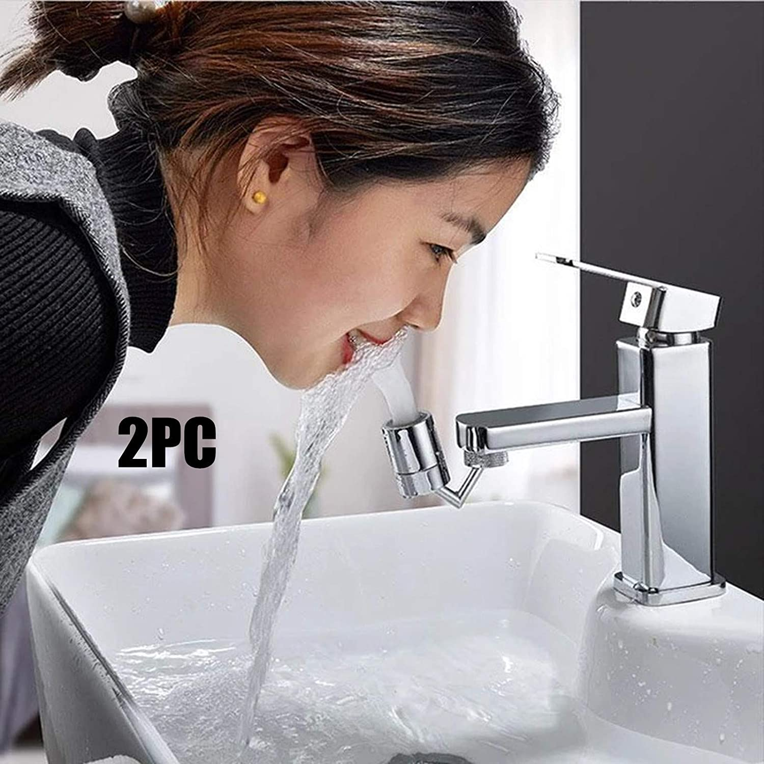 2PCS Universal Splash Filter Faucet,720/° Rotating Faucet Nozzle,Movable Kitchen Tap Head Water Saving Faucet Extender Sprayer Sink Spray Convenient to Wash Your Face and Gargle