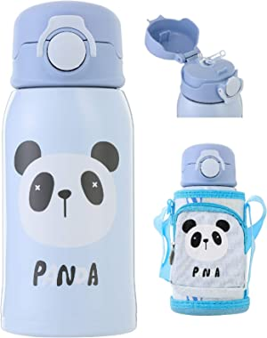 Kids Vacuum Insulated Water Bottle with Straw,20Ounce,Leak-Proof Stainless Steel Thermos for Children,Panda Thermos,Best gift