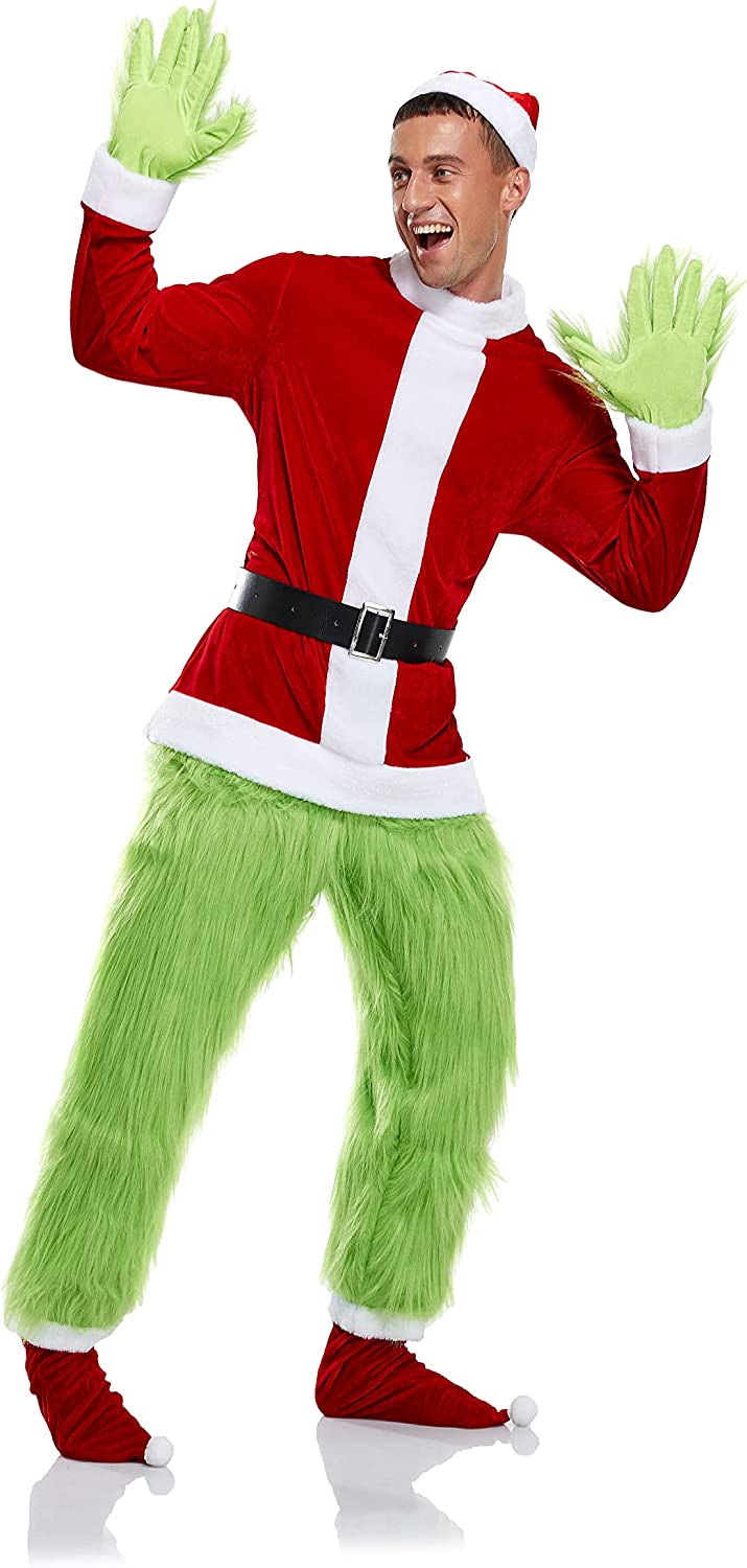 Year-end gift Green Furry Gloves Pants Hoodie Costume Halloween Access Max 57% OFF Cosplay