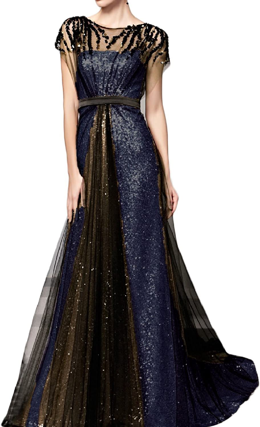 HIDRESS Long Sequin Aline Evening Dress Cap Sleeve Formal Gowns Satin BQ022