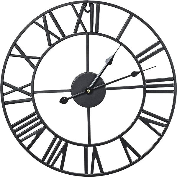 Sorbus Wall Clock 16 Round Oversized Centurian Roman Numeral Style Home D Cor Analog Metal Clock Black