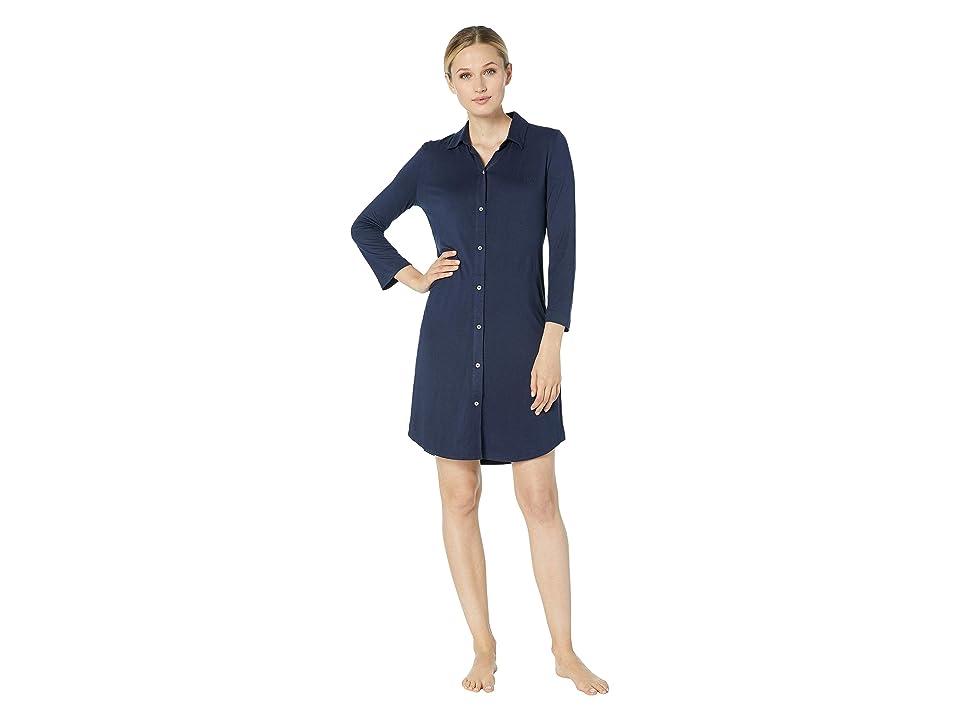LAUREN Ralph Lauren 3/4 Sleeve Short Sleepshirt (Navy) Women