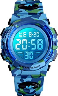 Montre numérique pour garçons, Digital Montres Sport pour Enfants étanches avec alarme/chronomètre/12-24H, électronique Mo...