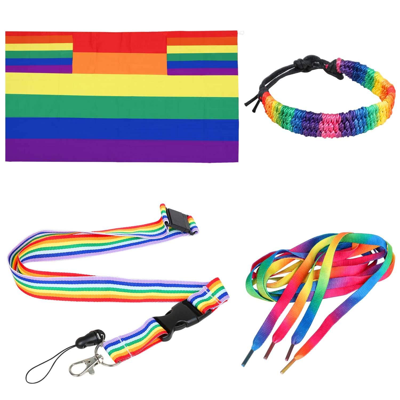 TRIXES 4PC Accesorios Arcoíris para el Día del Orgullo Gay Conjunto Multicolor de Capa Tamaño para Adultos, Bandera Cordón Sibato, Cordones Zapatos y Brazaletes-Festivales Carnaval Eventos de LGBTQ: Amazon.es: Juguetes y juegos
