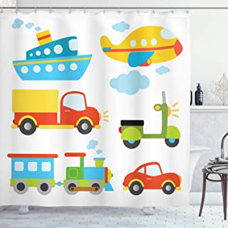 Ambesonne Nursery Shower Curtain, Abstract Transportation Types with Car Ship Truck Scooter Train and Aeroplanes, Cloth Fabric Bathroom Decor Set with Hooks, 70