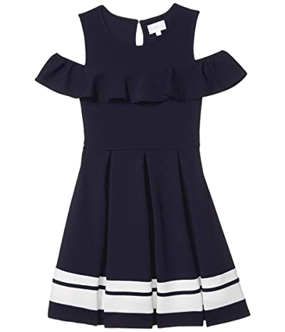 BCBG Girls Liverpool Contrast Stripe Hem Cold-Shoulder Dress (Big Kids) (Deep Sea Navy) Girl