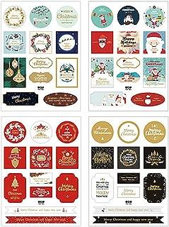 Kinteshun Christmas Sealing Sticker,Self-adhensive Xmas DIY Decorative Gift Packing Wrapping Envelope Seals Baking Label Paster Decals Sticker(8 Sheets,96pcs)