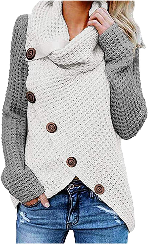 Women Winter Patchwork Knitted High Neck Bib Buttons Long Sleeve Regular Blouse Sweater