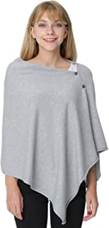 PULI Women's Versatile Knitted Scarf Poncho Sweater with Buttons Light Weight Spring Summer Autumn Shawl Poncho Cape Cardigan