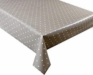 2 metres (200 x 137cm) vinyl tablecloth, 6 Seater Size, beige polka dot, wipe clean textile backed VINYL TABLE CLOTH (72) by linen702