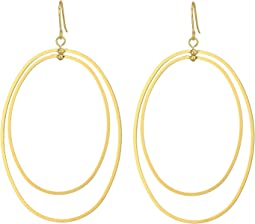 Polished Gold Double Open Oval Drop Fishhook Earrings