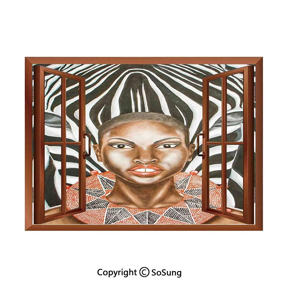 Country Decor Removable Wall Sticker/Wall Mural,African Woman with Zebra Spirit Animal Mother Nature Themed Artistic Image Creative Open Window Design Wall Decor,24