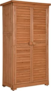 Mcombo Outdoor Storage Cabinet, Garden Storage Shed, Outside Vertical Shed with Lockers, Outdoor 63 Inches Wood Tall Shed for Yard and Patio 0870