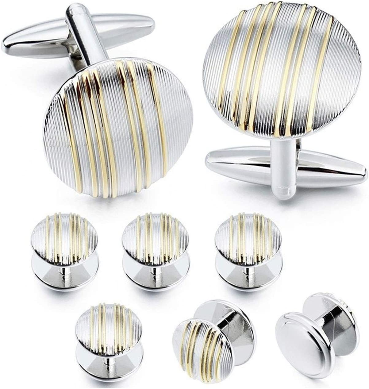 Classic Mental Round Cufflinks with Golden Stripes Funny Cuff Inks and Studs Set for Men Tuxedo Luxury Gift for Party (Metal Color : Round with 6 Studs)