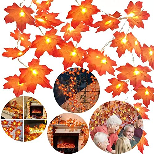 2021 Twinkle Star Thanksgiving Decoration Lighted Fall Garland, 20 LED 11 FT Maple 2021 Leaves String Lights Battery Operated, Thanksgiving Decor Fall Decorations for Home outlet online sale Indoor,Outdoor Halloween online sale