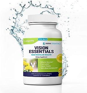 """Marine Essentials Lutein and Zeaxanthin Supplements - """"Vision Essentials"""" Pure Lutein Eye Supplement + Anti Oxidant Supple..."""