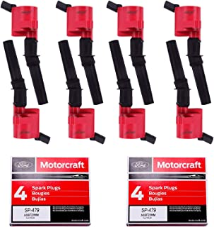 8pcs Ignition Coil DG508 & 8 pcs Motorcraft Spark Plug SP479 Compatible With Ford 4.6L 5.4L V8 CROWN VICTORIA EXPEDITION F...