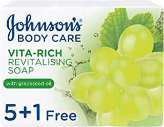 JOHNSON'S Body Bar Soap - Vita-Rich, Revitalising Grape Seed Oil, 125g, Pack of 6
