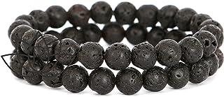 REVOO Bracelets Pierres de Lave Noir 2pcs Couple Bijoux Perles 8mm Elastique Pierre pour Bien Etre Protection Guérison et ...