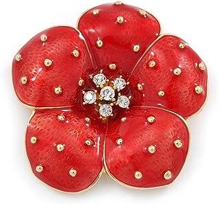 Avalaya Red Enamel, Crystal Poppy Flower Brooch in Gold Plating - 50mm D