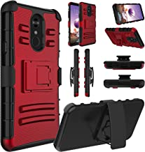 LG Stylo 4 Case, LG Stylo 4 Phone Case, LG Stylo 4 Plus Case, Elegant Choise Hybrid Holster Shockproof Full Body Protective Case with Kickstand and Swivel Belt Clip for LG Stylo 4 (Red)