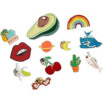 Enamel Lapel Pin Set 50 PCS Cartoon Cute Fruit Brooch Pin Japanese DIY Hard Aesthetic Lapel Pin for Clothing Bags Backpacks Accessory Jewelry