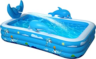 """Inflatable Pool for Kids Family: 98"""" x 71"""" x 22 """" Kiddie Pool with Splash, Swimming Pools Above Ground, Backyard, Garden, ..."""