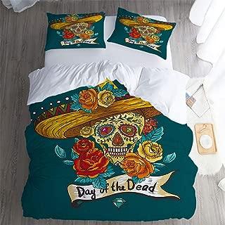 Jesserie Bak Hotel Luxury Bed Sheet Set Sale,Queen 3 Piece Set,Day of The Dead Decor Mexican Festive Hat Skull Roses Petrol Blue Turquoise Orange Marigold Bed Sheet Set.